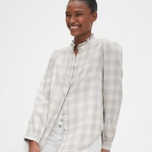 Gap ruffle plaid shirt
